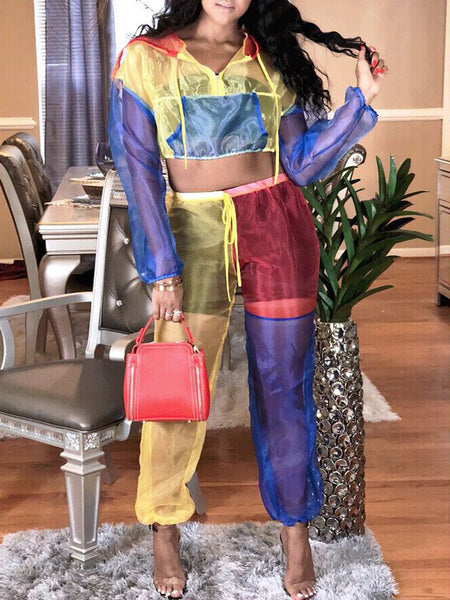 Fashion Color Block See Through Two-Piece Outfits