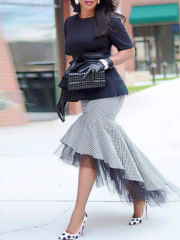 Asymmetric Hem Plaid Print High Low Midi Skirt