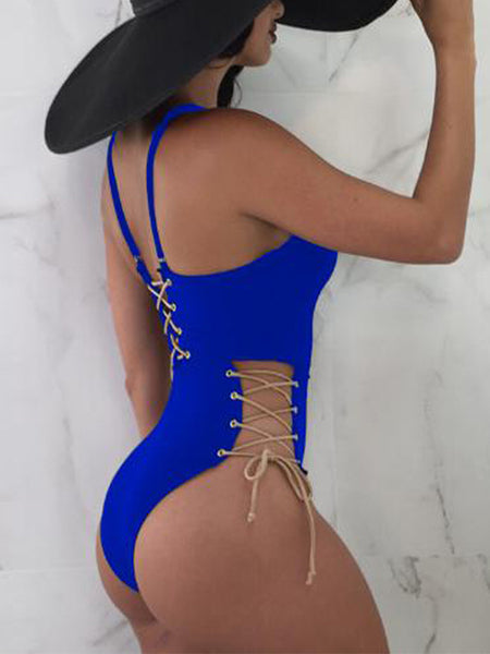 Sexy V-neck Bandage One Piece Swimwear