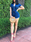 Zipper Pocket Short Sleeve Denim Romper With Belt