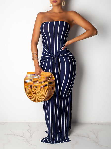 Tie Up Striped Open Back Maxi Dress