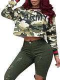 Casual Fashion Print Camouflage Tops