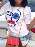 Fashion Simple Character Print T-shirt