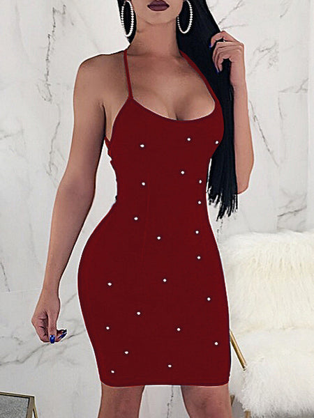 Solid Bandage Mini Dress With Beads