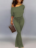 Skew Neck Batwing Sleeve Drawstring Jumpsuit
