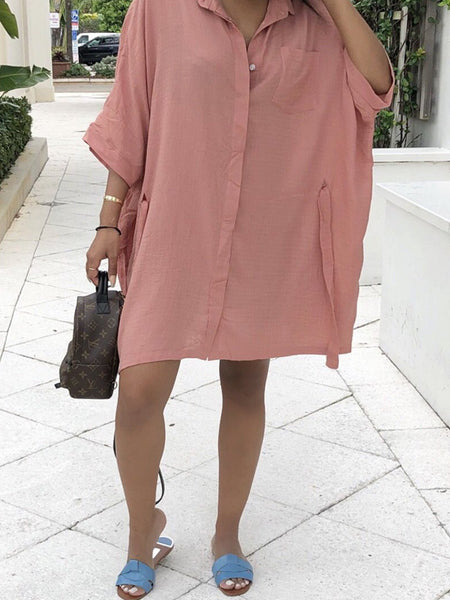 Casual Solid Bandage Shirt Dress Mini Dress
