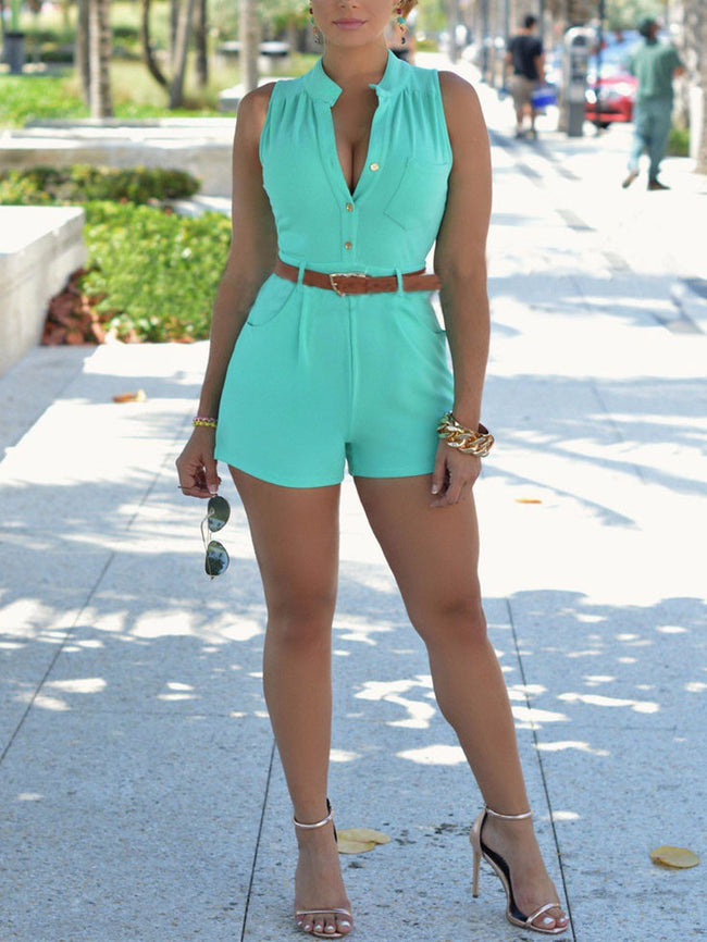 Sexy V-neck Solid Romper with Belt