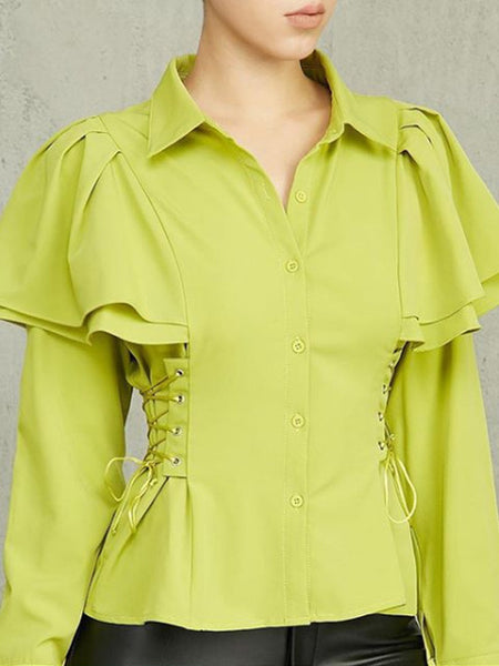 Short Sleeve Solid Color Asymmetric Casual Blouse