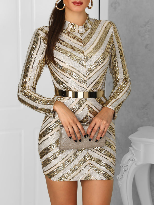 Sequin Long Sleeve Patchwork Casual Mini Dress Without Belt