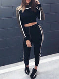 Fashion Casual Patchwork Long Sleeves Two-Piece Outfits