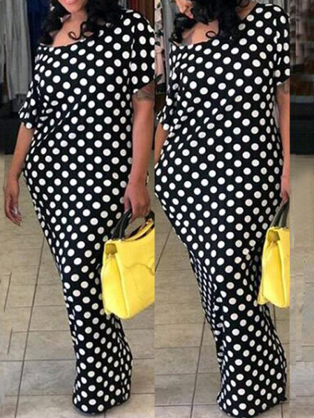 Off One Shoulder Polka Dot Half Sleeve Casual Maxi Dress