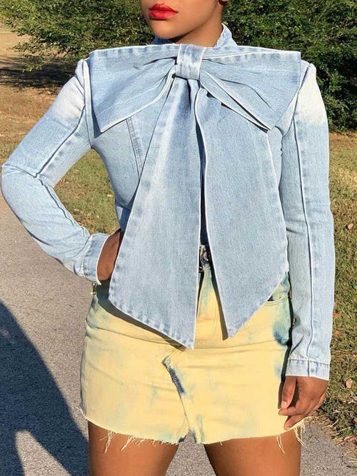 Denim Bowknot Worn Out Blouse