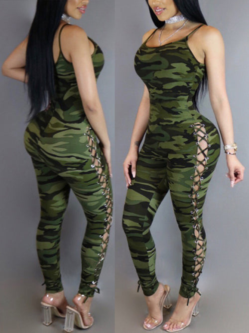 [Special Sale] Strap Camouflage Lace-up Jumpsuit