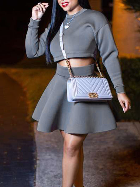 Solid Color High Waist Casual Two Piece Outfits