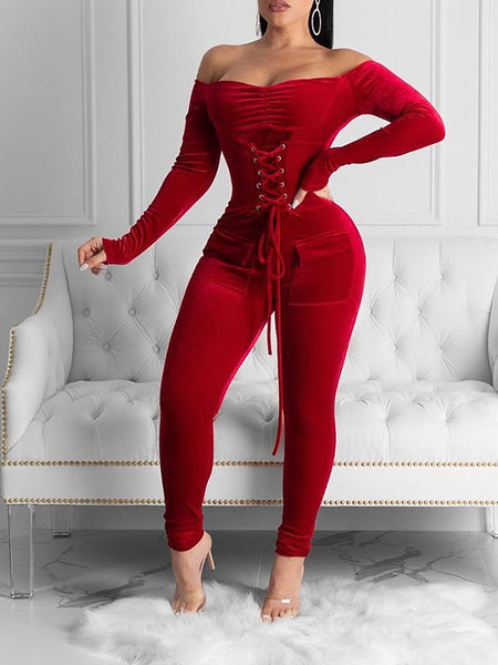 Off The Shoulder Eyelet Detail Bandage Jumpsuit
