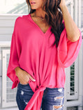 Solid Casual Long Sleeves Long Sleeves V-neck Bandage Top