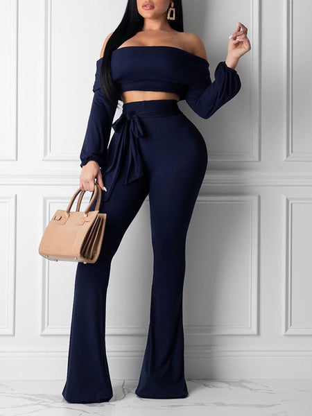 Off The Shoulder Belted Solid Two Piece Sets