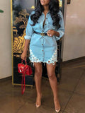 Fashion Denim Hollow Out Long Sleeve Mini Dress Without Belt