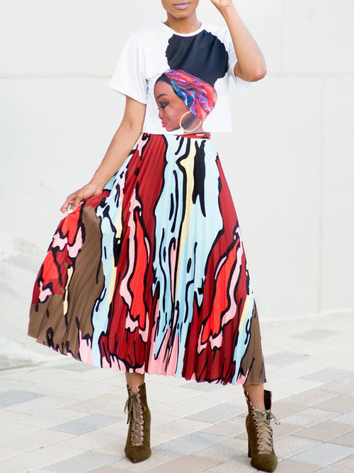 Casual Print T-shirt & Pleated Midi Skirt