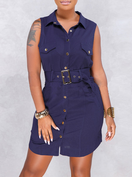 Solid Casual Turndown Collar Sleeveless Mini Dress With Belt