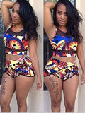 Patchwork Print High Waist Two-Piece Swimwear