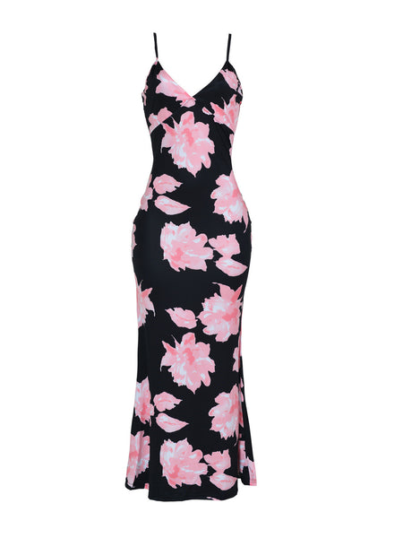 [Special Sale]Floral Print Backless Maxi Dress