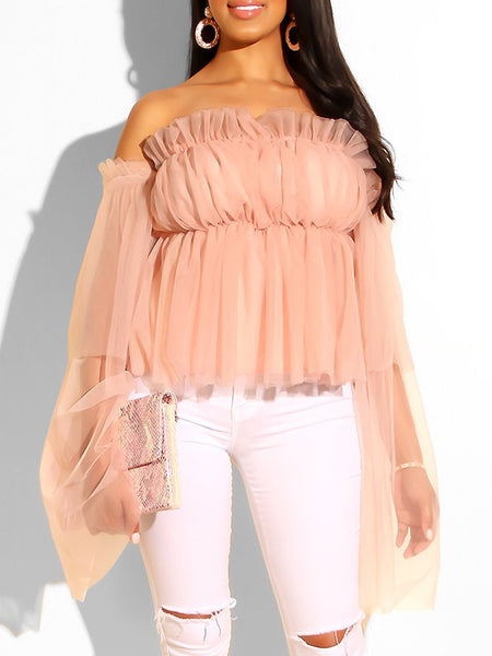 Off The Shoulder Net Yarn Ruffled Blouse