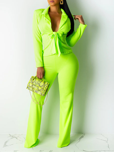 Bowknot Solid Color OL Two Piece Outfits