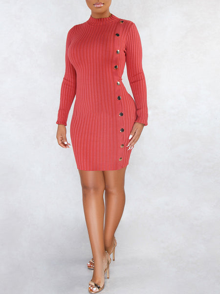Asymmetric Button Up Bodycon Mini Dress