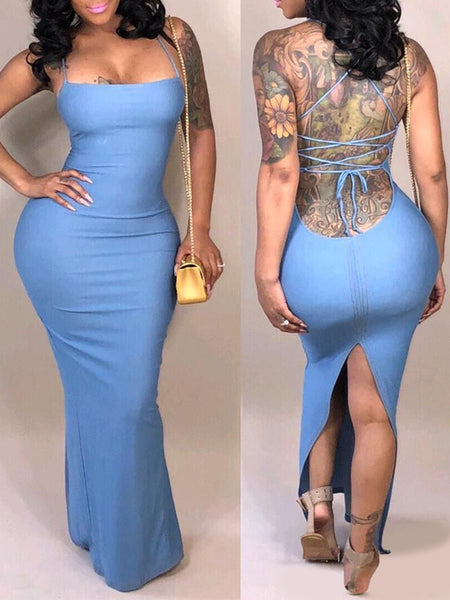 Sexy Backless Bandage Sleeveless Split Maxi Dress