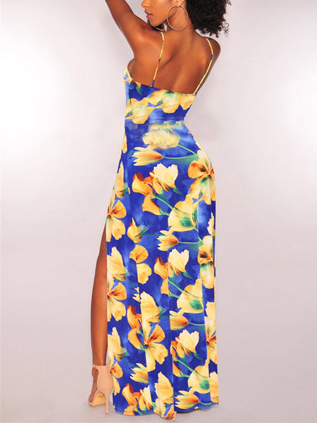 Irregular Print Slip Dress Maxi Dress
