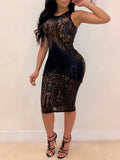 See-Through Sequined Sleeveless Club Dress