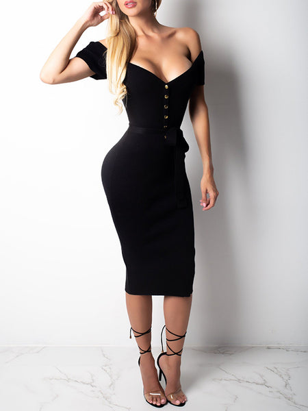 Off The Shoulder Button Solid Color Belted Bodycon Dress