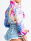 Tie Dye Pocket Turndown Collar Button Shirt