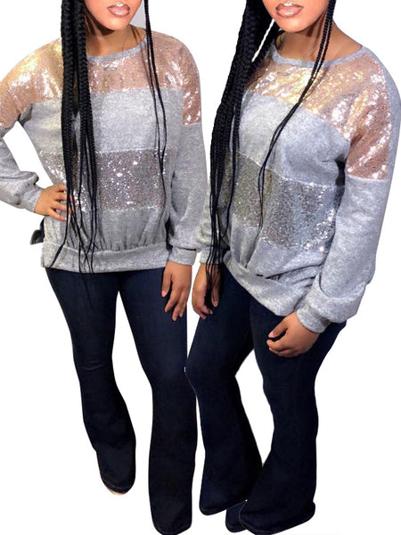 Fashion Sequin Long Sleeve Sweatshirt