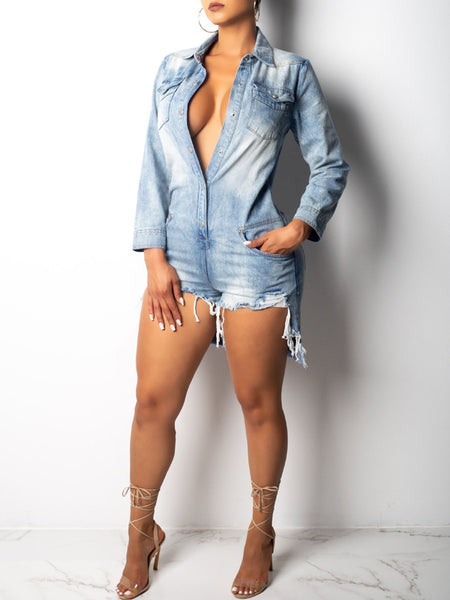Casual Asymmetric Denim Long Sleeve Romper