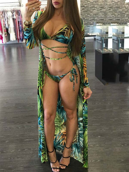 Sexy Print Three Pieces Swimwear