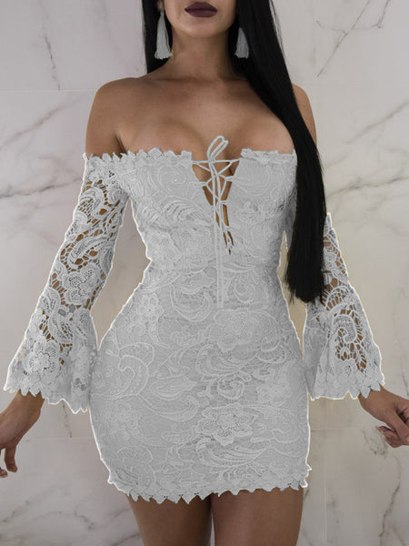 Sexy Solid Lace Bandage Mini Dress