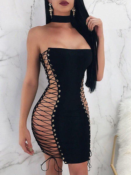 Sexy Print Bandage Two Pieces Mini Dress