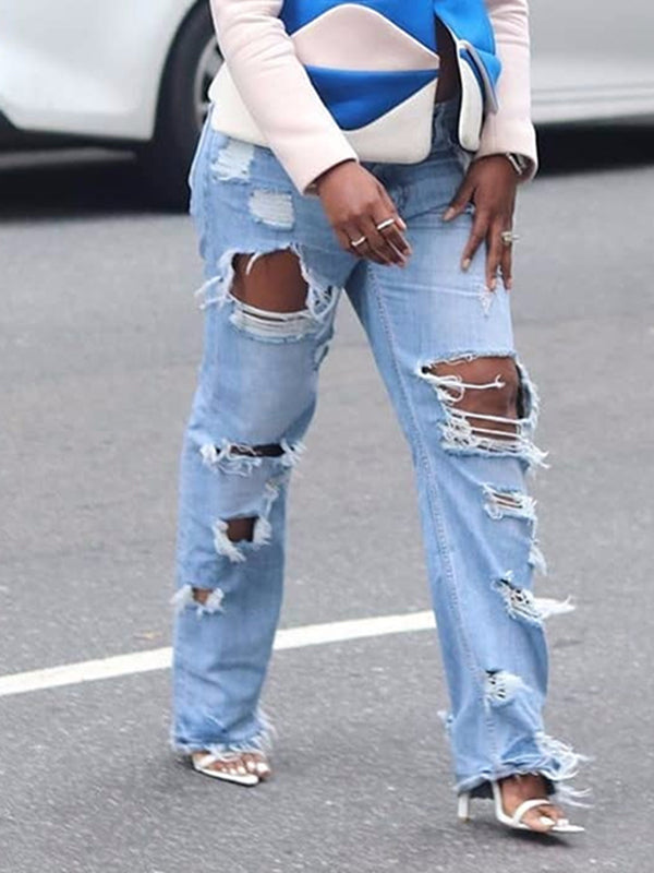 Denim Distressed Hole Casual Jeans