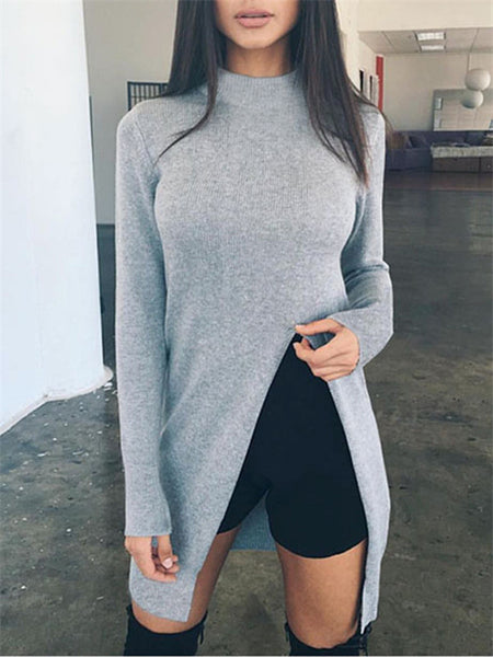Front Slit Long Sleeve Solid Color Sweater