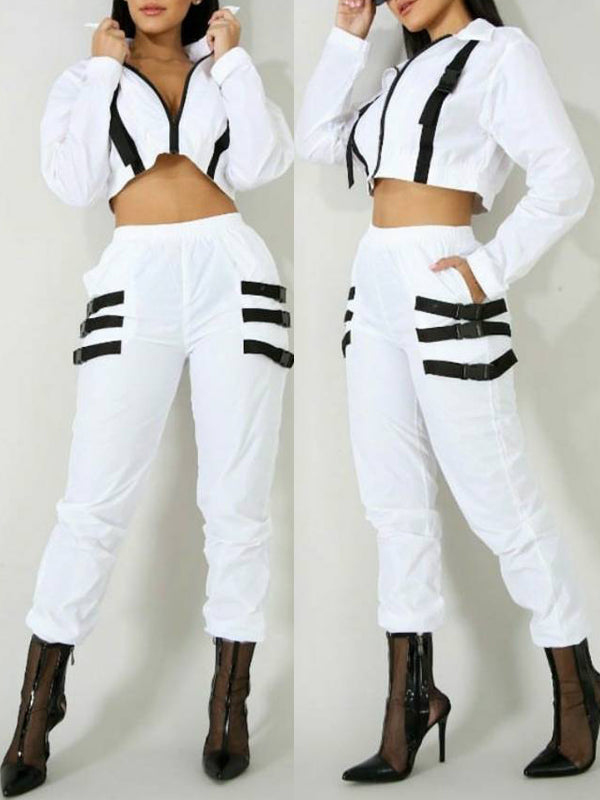 Casual Stripe Long Sleeve Two Piece Outfits