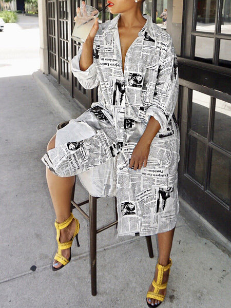 Fashion Print Long Sleeve Shirt Midi Dress