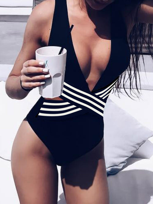 Open Back Hollow Out Sleeveless One Piece Swimwear