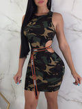 Fashion Sleeveless Camouflage Hollow Out Mini Dress Without Belt