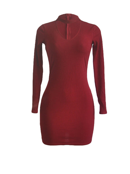 [Special Sale]Long Sleeves V-neck Mini Dress