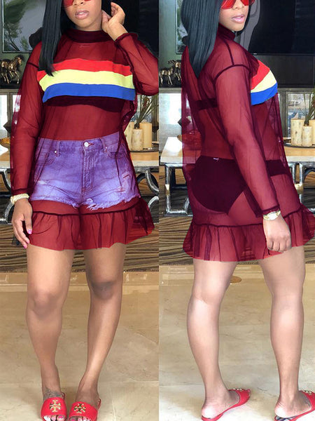 Sexy Patchwork  See-through Mini Dress