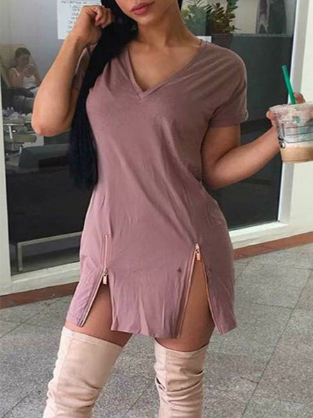 Solid V-neck Zipper Short Sleeves Mini Dress