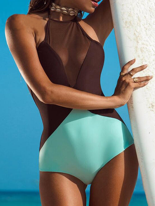 Solid Mesh One Piece Swimwear
