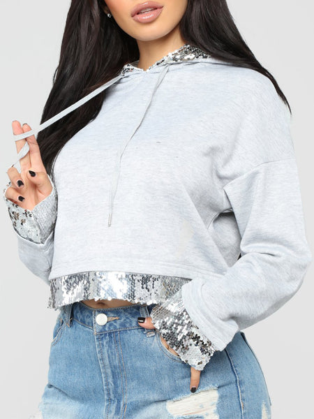 Casual Sequined Patchwork Hoodie